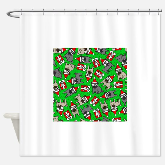 Funny Santa pug Shower Curtain