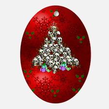 Merry Christmas Skulls Ornament (Oval)