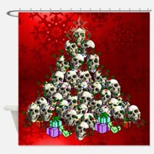 Merry Christmas Skulls Shower Curtain