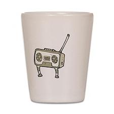 dancing retro radio cartoon Shot Glass