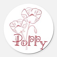 Poppy Round Car Magnet