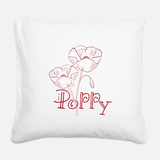 Poppy Square Canvas Pillow
