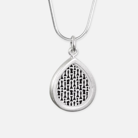 chess player Silver Teardrop Necklace