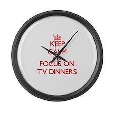 Cute Tv dinners Large Wall Clock