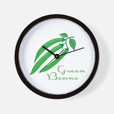 Green Beans Wall Clock