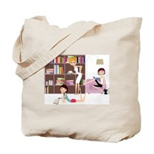 three girls reading books Tote Bag