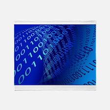 Beautiful Blue Binary Code Throw Blanket