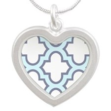 Light Blue Quatrefoil Pattern Necklaces