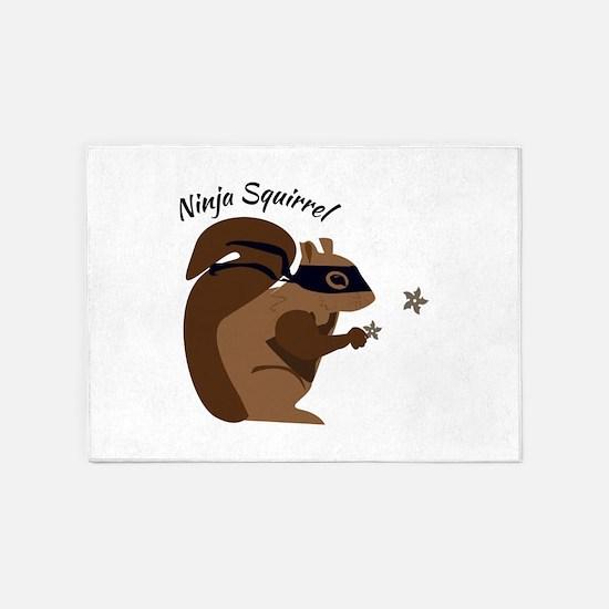 Ninja Squirrel 5'x7'Area Rug