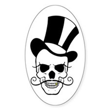 SKULL and TOP HAT Oval Decal