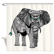 One Tribal Elephant Shower Curtain