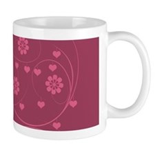 Cranberry Red Pink Hearts Flowers Pattern Mugs
