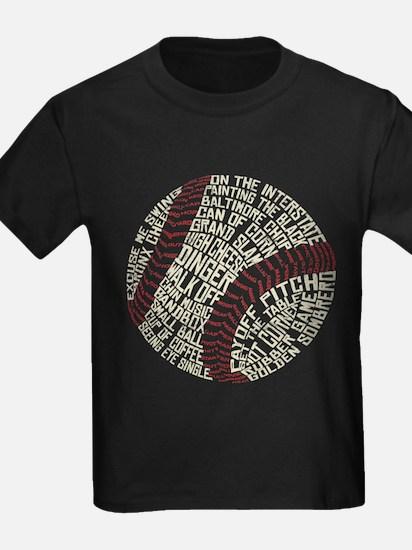 Typographic Baseball Slang Words T-Shirt