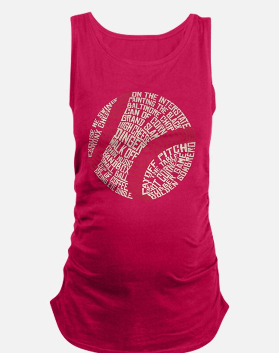 Typographic Baseball Slang Words Maternity Tank To