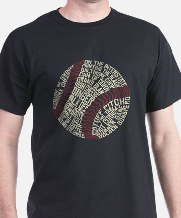 Typographic Baseball Slang Words T-Shirt