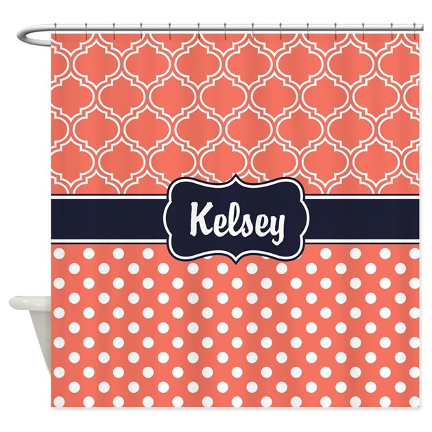 Navy Blue Coral Dots And Lattice Shower Curtain By
