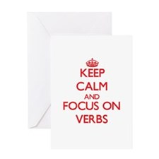 Keep Calm and focus on Verbs Greeting Cards