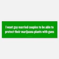 Gay Married Pot Plant Defense Bumper Car Car Sticker