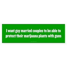 Gay Married Pot Plant Defense Bumper Car Sticker