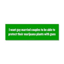 Gay Married Pot Plant Defense Car Magnet 10 x 3