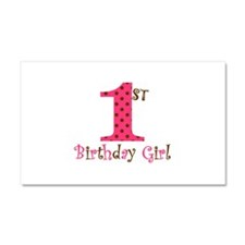 1st Birthday Girl Pink and Brown Car Magnet 20 x 1