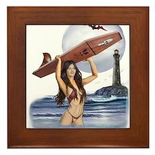 Vampire Surfer Girl Framed Tile