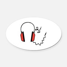 Musical Headphones Oval Car Magnet