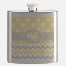Yellow Gray Chevron Dots Personalized Flask