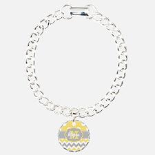 Yellow Gray Chevron Dots Personalized Bracelet