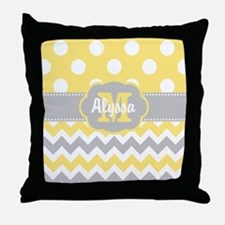 Yellow Gray Chevron Dots Personalized Throw Pillow