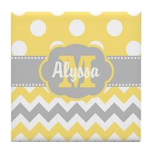 Yellow Gray Chevron Dots Personalized Tile Coaster