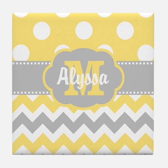 Yellow Gray Chevron Dots Personalized Tile Coaster
