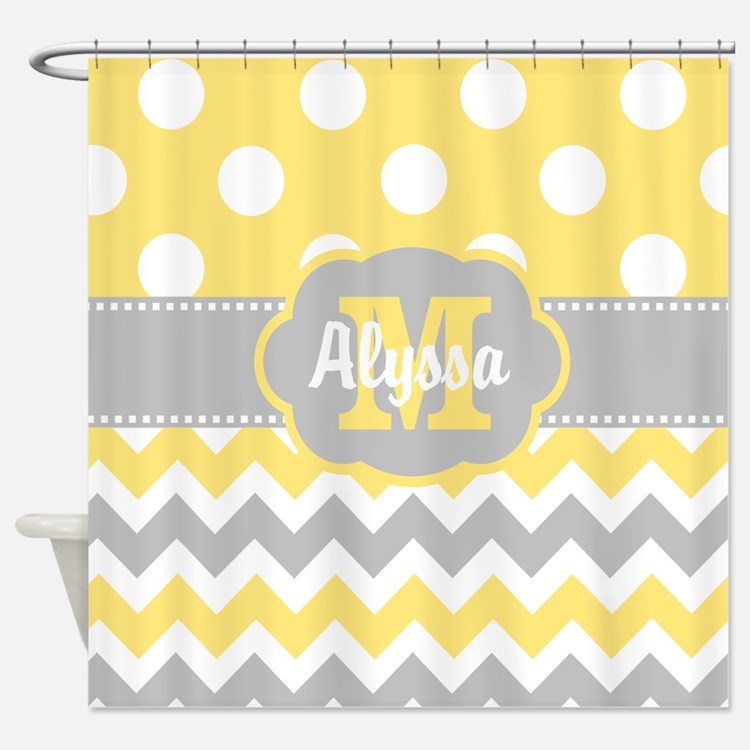 Yellow Gray Chevron Dots Personalized Shower Curta