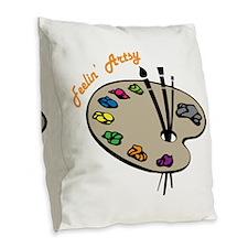Feelin Artsy Burlap Throw Pillow