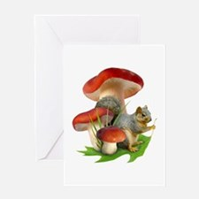 Mushroom Squirrel Greeting Card