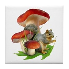 Mushroom Squirrel Tile Coaster