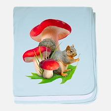 Mushroom Squirrel baby blanket