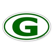"Green ""G"" Oval Car Decal"