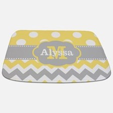 Yellow Gray Dots Chevron Monogram Bathmat