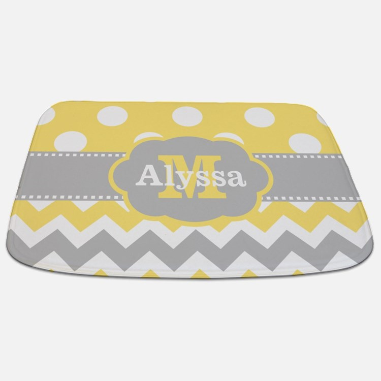 Grey And Yellow Chevron Bathroom Accessories Decor CafePress