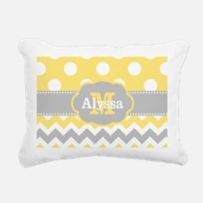 Yellow Gray Dots Chevron Monogram Rectangular Canv