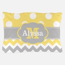 Yellow Gray Dots Chevron Monogram Pillow Case