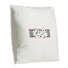 Dice Border Burlap Throw Pillow