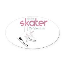 Skater Lands It Oval Car Magnet