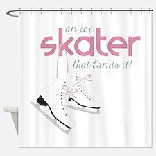 Skater Lands It Shower Curtain