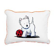 Westie & Ball Rectangular Canvas Pillow