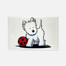 Westie & Ball Rectangle Magnet