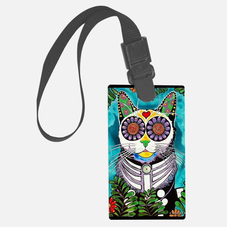 Sugar Skull Cat Luggage Tag