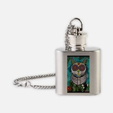 Sugar Skull Cat Flask Necklace