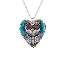 Sugar Skull Cat Necklace Heart Charm